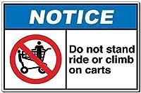 金属の警告板、通知はカートに乗ったり、登ったりしないでください2081ユニークなギフトギフトメタルレトロな壁の装飾ユニークなアートポスター