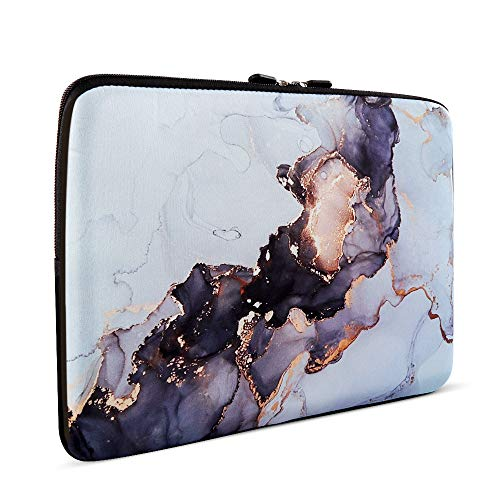 Laptop Sleeve, iCasso 13-13.3 Inch Stylish Flower Pattern Canvas Stitching Leather Briefcase Cover Case Bag for MacBook Air/Pro/Ultrabook/Notebook/iPad Pro - Gold Ink Ripple