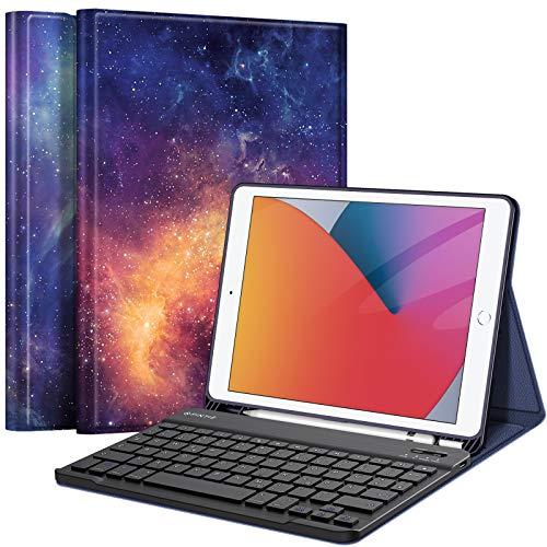Fintie Tastatur Hülle für iPad 10.2 Zoll (8. und 7. Generation - 2020/2019), Soft TPU Rückseite Gehäuse Schutzhülle mit Pencil Halter, magnetisch Abnehmbarer Tastatur mit QWERTZ Layout, Die Galaxie