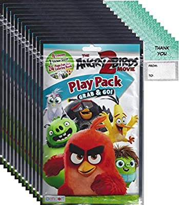 Angry Birds Grab and Go Play Packs Bundle (12 Packs) Party Favors and 12 Thank You Cards