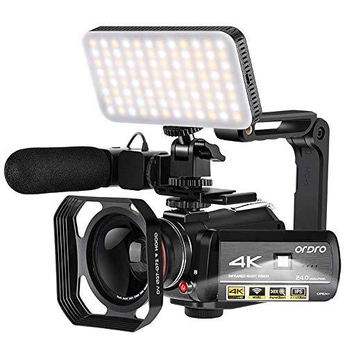 Camcorder 4K Videokamera, ORDRO HD 1080P 60FPS Vlog-Kamera, IR-Nachtsicht-Videorecorder, WLAN, Camcorder mit Mikrofon, LED-Licht, Weitwinkelobjektiv, Handhalterung, 2 Batterien
