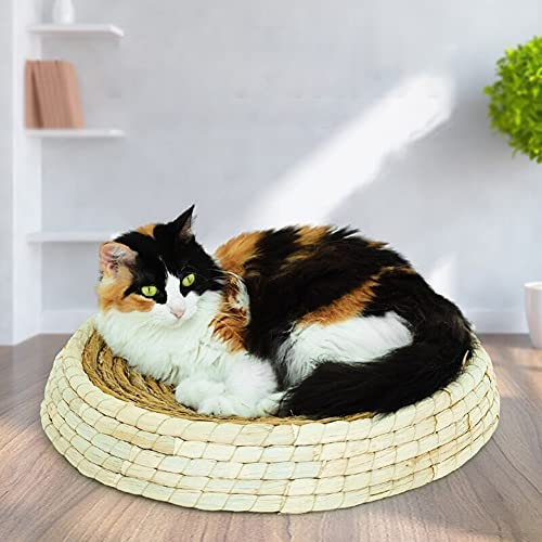 SOBW Cesta de mimbre tejida para mascotas con forma de garra redonda y rascadora para gatos con arena natural y respetuosa con el medio ambiente