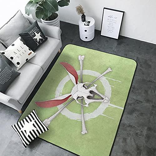 Calavera, Verde Alfombra de Salón de Pelo Corto de Diseño 3D 160 X 230 cm Alfombra de Franela...