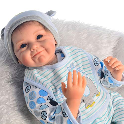 ZELY Reborn Baby Doll Ragazzo Silicone Vinile Realistica Bambole Bambolotti Giocattolo Regali 22 Pollici 55 Centimetri Magnetica Bocca