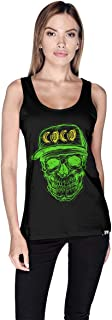 Creo Green Yellow Coco Skull Tank Top For Women - M