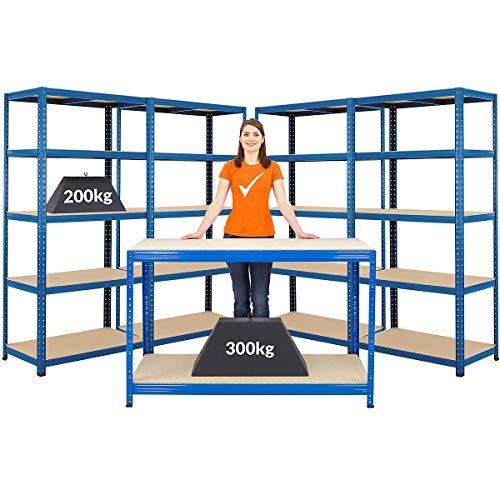 Certeo Mega Deal   1x Banco de trabajo y 4x Estanterías de alta resistencia  Estante de metal Estante de bodega Estante de almacenamiento Estante de taller Estante de garaje