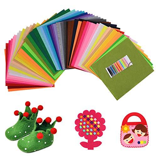 HellDoler Feltro Colorato Fogli Feltro Colorato 40 Colori 28 * 30 cm Pannolenci Colorati per DIY Mestieri per Bambini