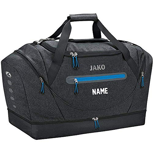 JAKO Sporttasche Champ mit Bodenfach, 60 cm, 68 L, Schwarz Meliert (mit Aufdruck)
