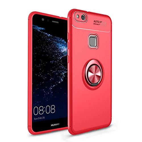 Yobby Souple Silicone Coque pour Huawei Honor 9 Lite, Coque Ultra Mince 360 Degres Rotation Bague Doigt Kickstand [Magnétique Support Voiture] Antichoc Housse de Protection-Rouge
