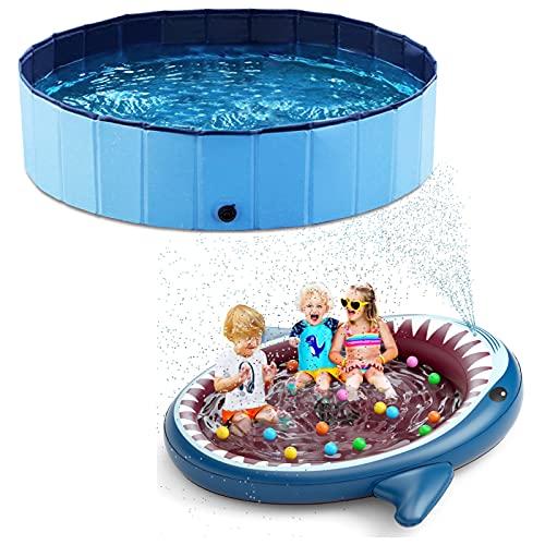 Jasonwell Foldable Dog Pool Inflatable Kiddie Pool Sprinkler: Shark Splash Pad for Kids Toddlers