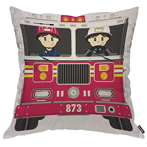 AOYEGO Fireman and Fire Engine Throw Pillow Cover Cartoon Firefighter Helmet Fire Red Truck Pillow Case 16x16 Inch Decorative Cotton Linen Square Cushion for Home Couch Bed
