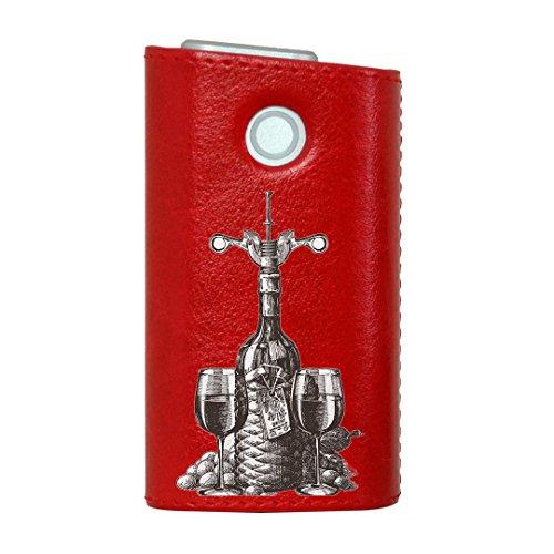 glo グロー グロウ 専用 レザーケース レザーカバー タバコ ケース カバー 合皮 ハードケース カバー 収納 デザイン 革 皮 RED レッド アンティーク ワイン モノクロ 009577