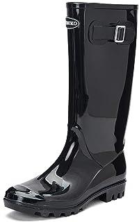 DKSUKO Women's Rain Boots Waterproof Knee High Wellington Boots