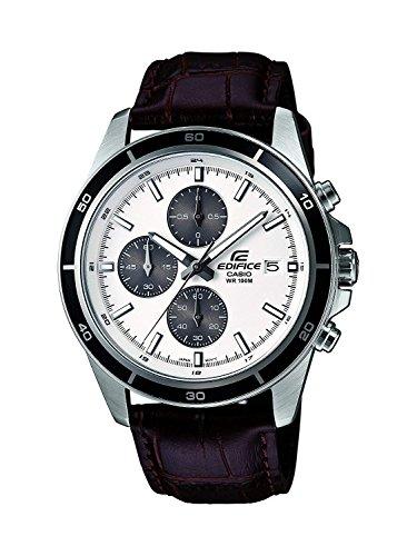 Casio EDIFICE Reloj en caja sólida de acero inoxidable, 10 BAR, Negro/Blanco, para Hombre, con Correa de Cuero, EFR-526L-7AVUEF