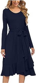 Women's Long Sleeve Dress,MOHOLL Casual Polka Dot Button Down Dress Elegant Swing Pleated T-Shirt Dresses