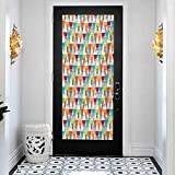 3D Modern Art Decorative Door Sticker, Indie Triangles Pattern with Deer Elk Portraits Geometric Co, DIY Art Home Decor Poster Decoration, W35.4 x L78.7 Inch