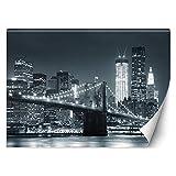 Feeby Fotomurales Manhattan De Noche 254x184 cm blanco y negro Papel Tapiz Fotográfico Decorativos Murales Dormitorio Oficina Hotel Spa Nueva York Nyc Rascacielos