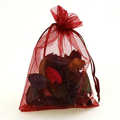 """CMAJOR Organza Bags 100pcs Satin Drawstring Wedding Favor Jewelry Candy Watch Party Gift Pouch (6"""" x 9"""", Burgundy)"""