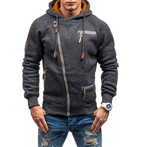 Kneris Herren Kapuzenpullover Diagonaler Reißverschluss Sport Winterjacke Sweatshirt Mode Pulli Herbst Winter