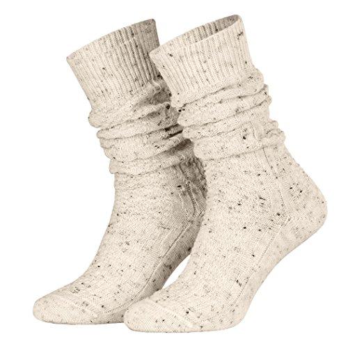 Piarini 39-42 - 1 Paar Schoppersocken Trachtensocken Herren Damen kurz - Zopfmuster handgekettelte Spitze Wolle - beige