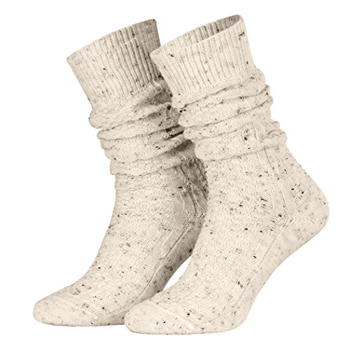 Piarini 35-38 - 1 Paar Schoppersocken Trachtensocken Herren Damen kurz - Zopfmuster handgekettelte Spitze Wolle - beige