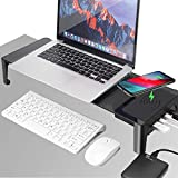 4 in 1 Monitor Stand Riser with Bluetooth Speaker, Wireless Charger, 4 USB 3.0 Support Transfer Data Charging,Keyboard and Mouse Storage Desk Organizer | up to 27inch for Laptop Computer MacBook PC