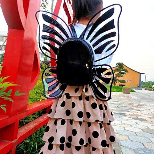 NYSJLONG Bolsos para Mujer Moda para Mujer Mini Mochila de Cuero holográfico con láser Mariposa Alas de ángel Mochila para niñas Viaje Mochila Informal Escuela