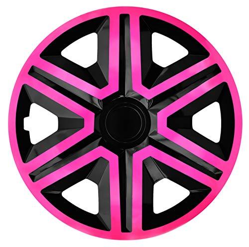 Luckyberg Radkappen - 'Fast LUX/Action' 14 Zoll 4er Set - Universal Fit für Autos und andere Fahrzeuge (Pink/Black)