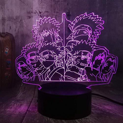 Luz nocturna 3D Grupo Ninja Personajes de Anime Luz nocturna fantasma 3D Lámpara de mesa de 7 colores Regalo para niños