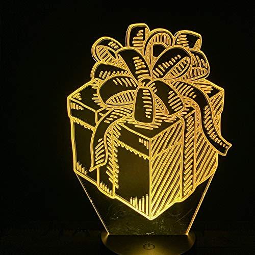 Led-nachtlampje, 3D-vision-zeven, kleuren-afstandsbediening, licht met strik, knop, slaapkamer, bureau, geschenkbox, mooi geschenk, decoratie, kinderen, nachtlampje, kinderkamer, nachtlampje, slaapkamer