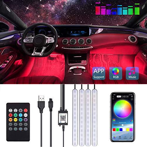 Striscia LED Auto, Luci LED Interne per Auto con APP e Telecomando, 48 LEDs Kit RGB di Illuminazione e Decorazione per l'Interno di Auto, 4 Modalità Musica Che Lampeggiavano Con Ritmo Sonoro Musicale