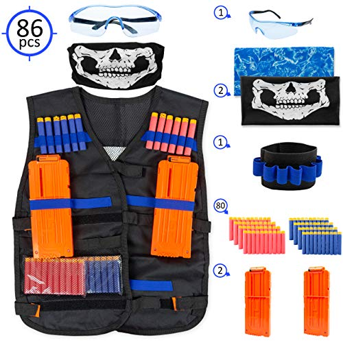Nerf Tactical Vest voor kinderen - Complete set voor Nerf Guns N-Strike Blasters en Elite Series - Met 2 Quick Reload Clips, Hand Pols Band, Beschermende Bril, Tube Face Mask en 80 Refill Foam Darts