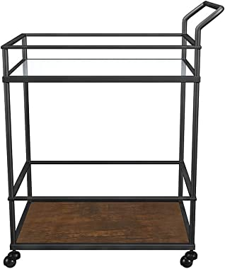 U-Eway Kitchen Rolling Island,Bar Serving Cart on Wheels,2 Tiers Wine Tea Beer Shelves Holder with Drawer,Trolley with Storage for Dining Rooms Kitchens (Glass)