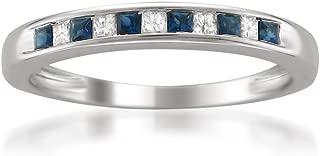 La4ve Diamonds 14k White Gold Princess-Cut Diamond and Blue Sapphire Wedding Band Ring (1/3 cttw, H-I, I1-I2)