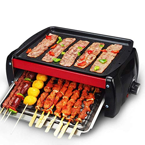 Qikafan Double Electric Grill Smokeless Electric-Griddles with Non-Stick Grill Net, Adjustable Heat Control Grease Drip Tray Extra, Portable BBQ Barbecue