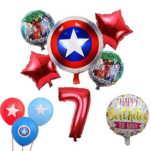 LIZHIOO Ballon gesetzt 10pcs Hulk The Avengers-Folien-Ballone 18 Zoll Runde Superheld Helium-Ballon 32 Zoll Anzahl Set Kid Spielzeug-Geburtstags-Party-Dekor (Color : Red 7)