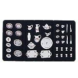 Toygogo 40 Stücke Esszimmer Porzellan Tee Set Schüssel Tasse 1/12 Puppenhaus Miniatur Rose Blumen