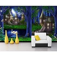 写真の壁紙3D立体空間カスタム大規模な壁紙の壁紙 森の城の壁の装飾リビングルームの寝室の壁紙の壁の壁画の壁紙テレビのソファの背景家の装飾壁画-140X100cm