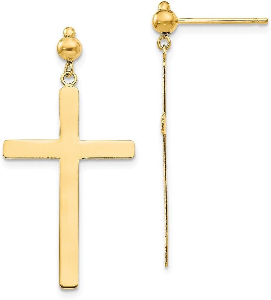 14k Yellow Gold Cross Religious Drop Dangle Chandelier Post Stud Earrings Fine Jewelry For Women Gifts For Her