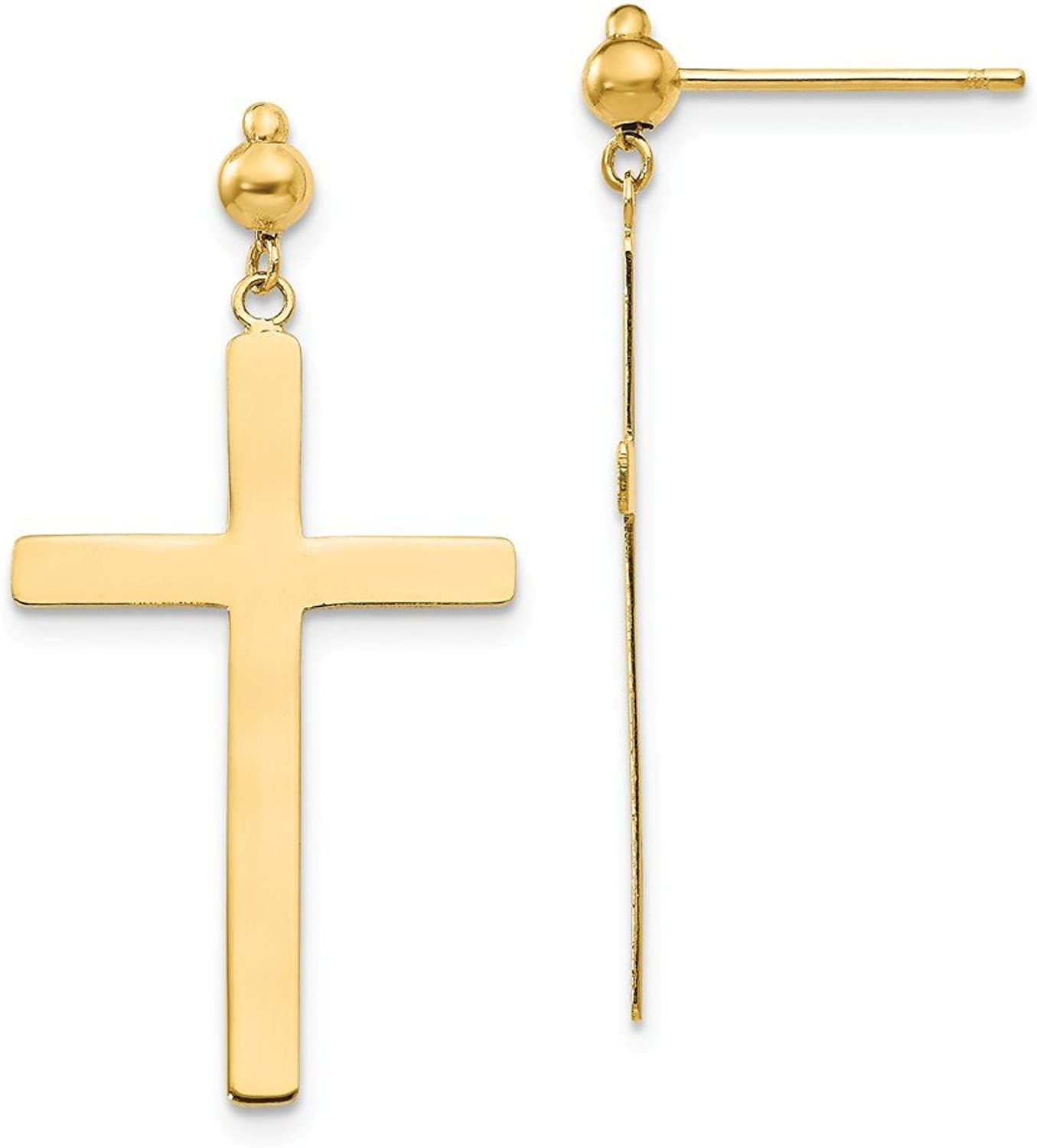 Beautiful Yellow gold 14K Yellowgold 14K Cross Dangle Post Earrings