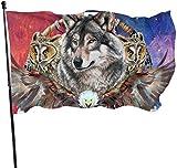 N/A Drapeau de la Garde Américaine Bannière de la Maison Drapeaux de Loups Américains Indiens Durable Verticale Cour pour Maison Patio Sports Décoration Pied