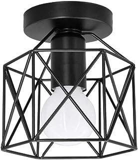 Artpad Vintage Loft Jaula de hierro negro Lámpara de techo LED 5W Luz de metal nórdico con luz blanca para cocina Dormitorio Balcón Barra de pasillo E27 Luminaria de techo geométrica