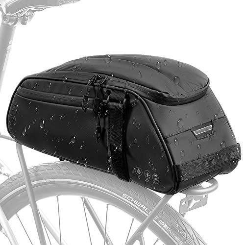 WOTOW Bike Reflective Rack Bag, Water Resistant Bicycle Rear Seat Pannier Cargo Trunk Storage Cycling Carrier Chest Bag with 8L Capacity Multi Pocket Taillight Loop for Commuter Outdoor Traveling