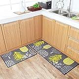 U'Artlines - Juego de 2 alfombras de cocina antideslizantes lavables, con parte trasera de goma,...