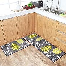 U'Artlines - Juego de 2 alfombras de Cocina Antideslizantes Lavables, con Parte Trasera de Goma, felpudos para Interiores y Exteriores, Polipropileno, Árbol, 45x70+45x120cm