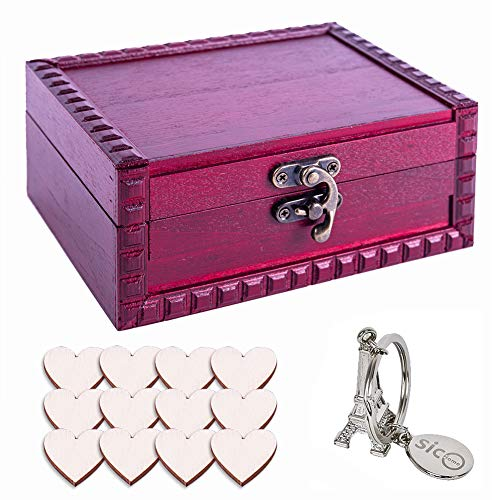 SICOHOME Tarot Cards Box,5.73' Small Wooden Treasure Box for Trinkets,and Gifts