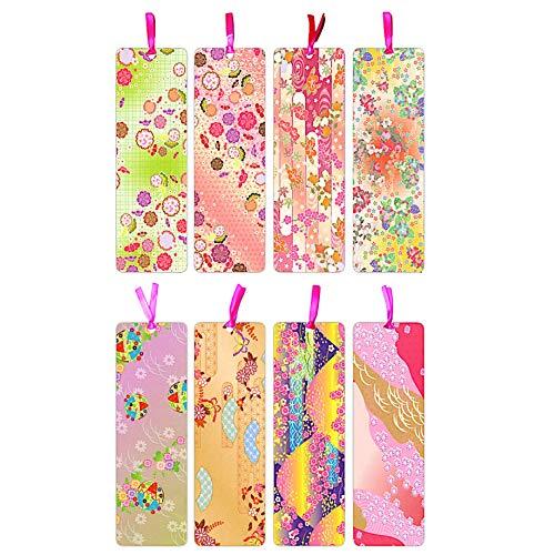 KUDOS.JP Cute Laminated Bookmarks for Book Lovers Women, Girls 8 Pcs