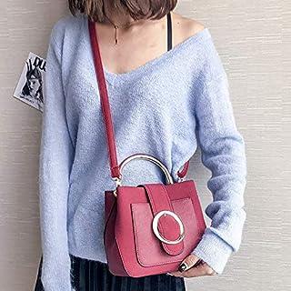 YKDY Shoulder Bag Leisure Fashion PU Leather Slant Shoulder Bag Handbag (Black) (Color : Red)