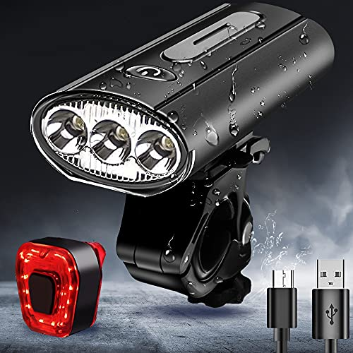Bike Light Runtime 8+ Hours,4000Lumens Super Bright 3LED Rechargeable bike headlight and tail light set, Powerful Waterproof bike lights/Taillight for Cycling for Road,Mountain,Commuter Bicycles