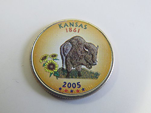 2005 Various Mint Marks Kansas State Colorized Quarter Choice Uncirculated